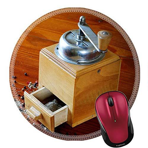 Runder Mauspad Naturkautschuk Mousepad Old Grinder Hintergrund Mit Pfeffer Und Piment Vintage Tisch 20Cm