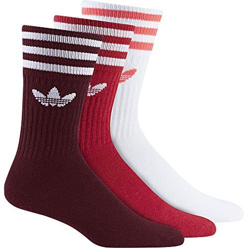 adidas Solid Crew 3 Pack, Socks Herren M Collegiate Burgundy/Scarlet/White