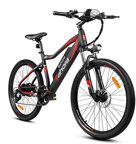 eAhora XC100 Bicicletas eléctricas de montaña de 26 pulgadas para adultos 48 V 350 W Bicicleta eléctrica con control de crucero para desplazamientos urbanos con batería de litio extraíble, sistema de recarga E-PAS, cambios de marchas Shimano de 7 velocidades