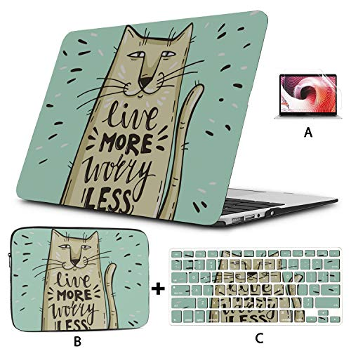 Cover Macbook Air Cartoon Cute Cat With English Words Mac Pro Cover Hard Shell Mac Air 11'/13' Pro 13'/15'/16' With Notebook Sleeve Bag For Macbook 2008-2020 Version