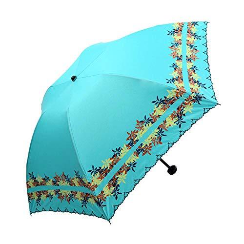 XCWQ Vrouwen Parasol Kleur Coating Zon Paraplu Regen Vrouwen Zonbescherming Uv Vrouwelijke Parasol Dubbele Parasol Drie vouwen