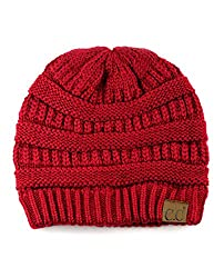 Red knit C.C beanie that's perfect for sweater weather.