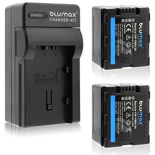 Blumax 2X Akku für Panasonic VW-VBN130 1150mAh + Ladegerät für VW-VBN130 | passend zu Panasonic HC Reihe: X800-X900-X909-X910-X920-X920M-X929 | HDC Reihe SD800-SD900-SD909-TM900-HS900
