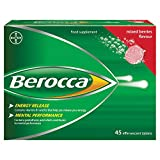 Berocca Energy Vitamin Tablets Mixed Berries Flavour, High Dose of Vitamin B Complex, Vitamin B12, Also Contains Vitamin C and Magnesium, 45 Tablets - 6 Weeks Supply