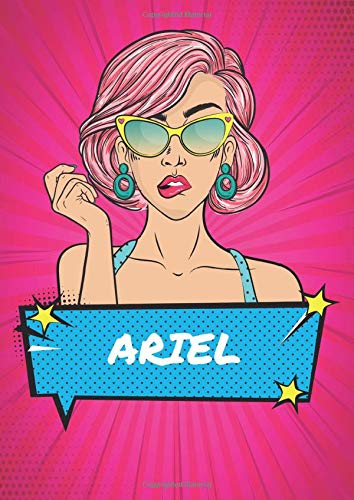 Ariel: Vintage 90s Theme Comic Pop Art Girl Notebook Journal personalized - Women Girls Name Ariel - Blank DIN A4 Notebook dotted - Notebook Directory ... 90s Accessories -Birthday and Christmas Gift