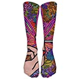 shenguang Perfect Gifts - Colorful Weeds Painting Black Print Running Stockings Ski Calcetines Classics Comfortable Calcetines for Women Teens.