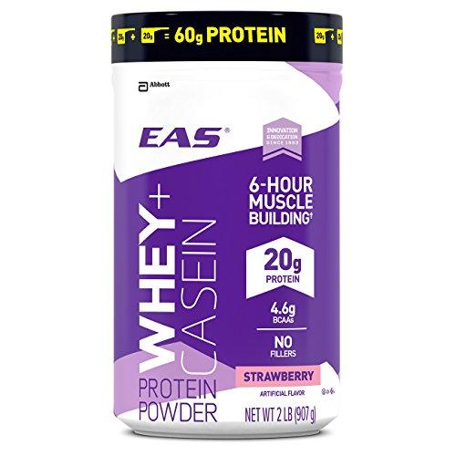 EAS Whey + Casein Protein Powder, Strawberry, 2 Pound