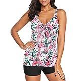 Durio Badeanzug Damen Bademode Zweiteilig Tankini Set V-Ausschnitt Bikini Set Bauchweg Sexy Rosa Flamingo 44-46