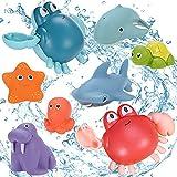 GOLDGE 8pcs Niños Juguete de Baño Animal Juguete, Marinos Juguetes de Baño Bebe, Juguetes de Baño para Bebé Niños, Juguetes Bañera Juguetes de Baño