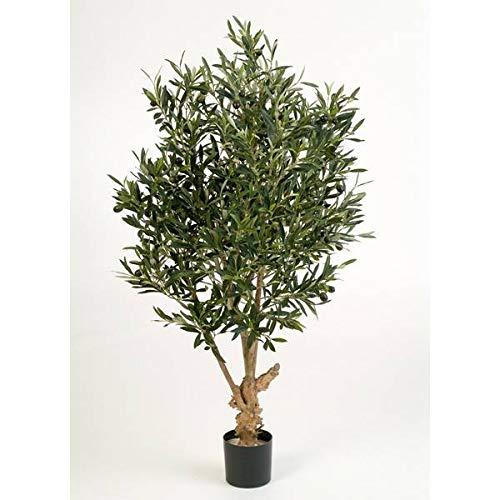 artplants Deko Olivenbaum mit 2288 Blättern, 120 cm - künstlicher Baum/Olivenbaum künstlich