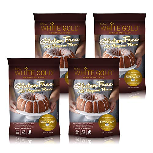 Extra White Gold Gluten Free All Purpose Flour – Gluten Free Flour Blend For Baking & Cooking – [Kosher] [Gluten Free] [Vegan] [Soy Free] [Nut Free] [Dairy Free] – 15.9 Ounces (4 pack)