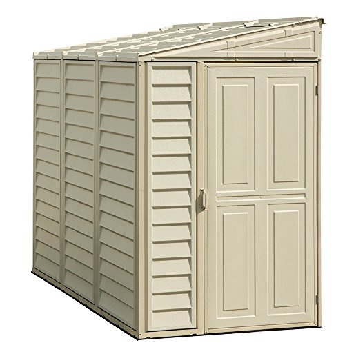 Duramax SideMate 4' x 8' Plastic Garden Shed with Foundation Kit - Ivory - 15 Years Warranty