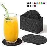 Chillify Filz-Untersetzer 8er Set für Getränke / Gläser mit Aufbewahrungs-Box - Rutschfester hitzebeständiger waschbarer Glasuntersetzer - Rund, Dunkelgrau, 10cm - absorbierend für Becher, Bier, Tisch, Bars