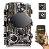 Wildkamera WLAN, 4K 24MP Bluetooth Jagdkamera mit Bewegungsmelder, Nachtsicht 20m/65ft, Keine glühenden IR-LEDs, IP66 wasserdicht, Wildtierkamera für Tierbeobachtung und Jagd