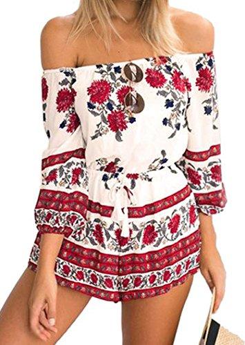 kaking Damen Overall Sommer Jumpsuit Kleid kurz (Asien Small, Rot)