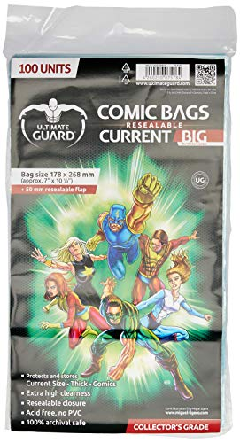 Ultimate Guard Comic Bags Big Bolsas con Cierre Reutilizable de Comics Current Size (100)