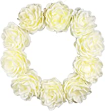 "SN Decor Artificial Flower Wreaths 24"" Cream Floral Wreath for Front Door Wall Home Decor Indoor and Outdoor Foam Flower W..."