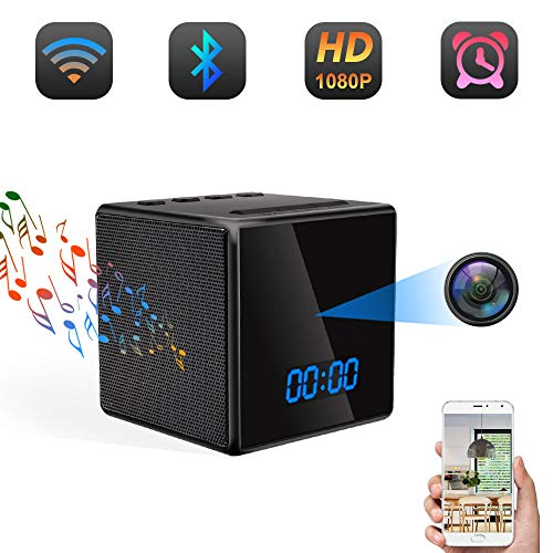 Telecamera Spia Nascosta WiFi TANGMI Spy Cam Bluetooth Speaker Sveglia HD Wireless Microcamere Spia Motion Detection Visione Notturna