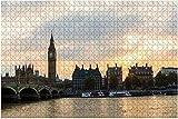 1000 piezas: el Big Ben, las casas del parlamento y el puente de Westminster en Londres, rompecabezas de madera, bricolaje, rompecabezas educativos para niños, regalo de descompresión para adultos, j