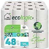 My Tissue Ecologic+ Papel higiénico doméstico, 100% celulosa reciclada: 48 rollos de 36 m. c/u;...