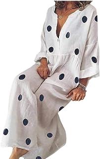 CBTLVSN Women Floral Printed Cotton Linen Boho V Neck Kaftan Casual Dress