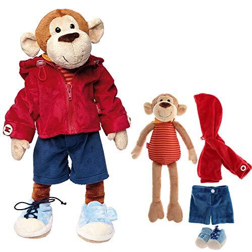 Sigikid 40989 - Mädchen und Jungen, Stofftier Lern-Affe, Spielerisch An Ausziehen lernen, rot/dunkelblau