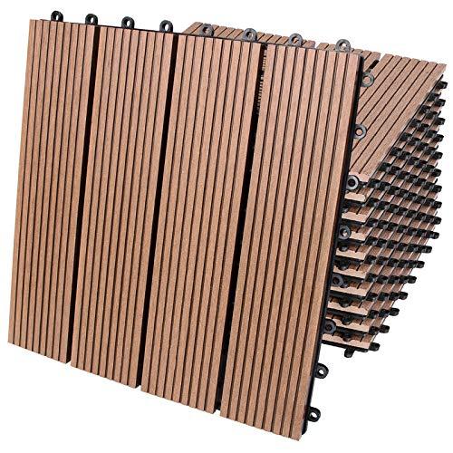 Deuba Set de 11 baldosas losas de WPC Terracota para jardín terraza Exterior Resistente al Agua Sistema de Encaje 30x30cm