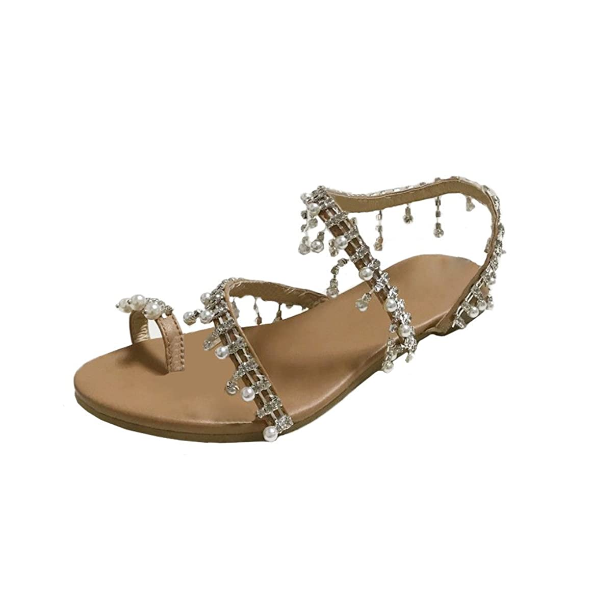 Women Flat Shoes, JOYFEEL ?? Ladies Casual Round Toe Beaded Beach Sandals Sexy Pearl Summer Ankle Strap Sandals