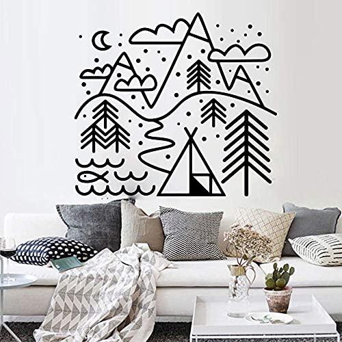 Tienda De Campaña De Montaña Al Aire Libre Etiqueta De La Pared Calcomanía Vinilo Dormitorio Vinilo Decoración Del Hogar Arte Mural 68X61 Cm