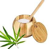 Salero Cocina de Bambú Caja, Caja Almacenamiento de Especias, Caja de Sal, Recipientes de Sal, Natural Caja Almacenamiento Bambú con Cuchara para Cocina (Estilo B)