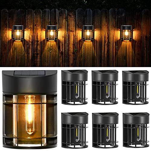 Solar Wall Lights Outdoor, 6 Pack Solar Deck Lights LED Tungsten Filament Bulb Vintage Style Lamp Decorative Solar Fence Lights for Post Patio Yard Porch and Driveway, 3000K