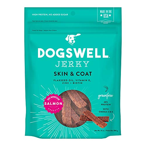 Dogswell Jerky Skin and Coat – Real Salmon Jerky Dog Treats with Dog Skin & Coat Support (10 oz. Salmon)
