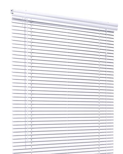 CHICOLOGY Custom Made Corded 1-Inch Aluminum Mini Blind, Blackout Horizontal Slats, Inside Mount, Room Darkening Perfect for Kitchen/Bedroom/Living Room/Office and More: 76' W X 54' H, White (Matte)