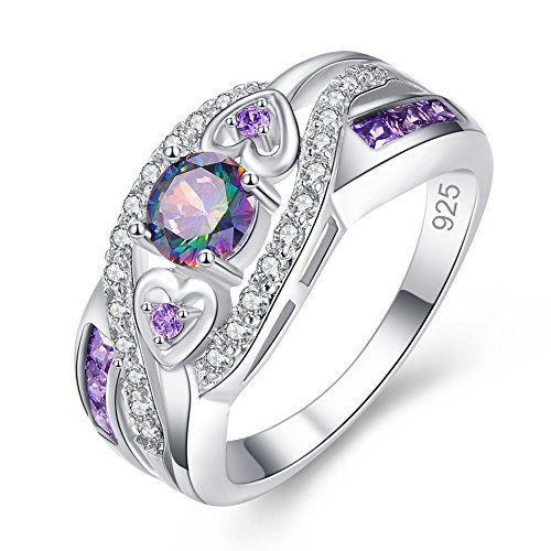 Veunora 925 Sterling Silver Created 5x5mm Rainbow Topaz and Amethyst Filled Twisted Ring Band for Women Size 6
