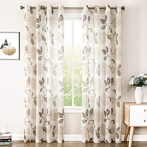 MRTREES Sheer Curtains Linen Blend Textured 72 inches Long Living Room Sheers Floral Printed Bedroom Curtain Panels Brown Flower Print Window Treatment 2 Panels Grommet Top Light Filtering Drapes
