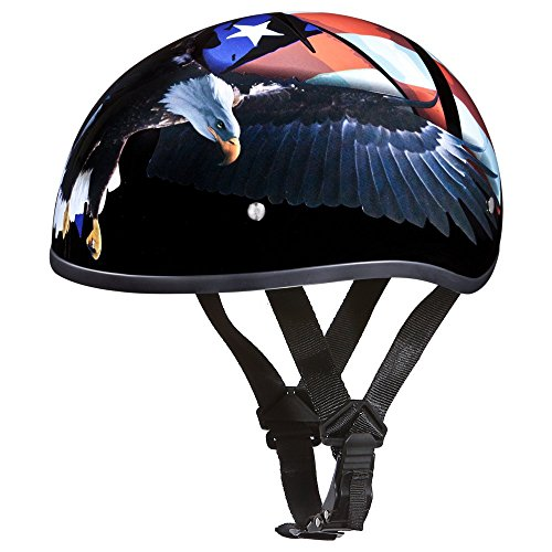 Daytona Helmets Motorcycle Half Helmet Skull Cap- Freedom 100% DOT Approved