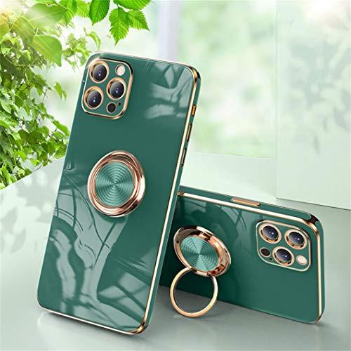 Jacyren Funda para iPhone 12 Pro, funda para iPhone 12 Pro, carcasa ultrafina de silicona, soporte magnético para coche con soporte de 360 grados, carcasa para iPhone 12 Pro (verde oscuro)