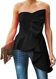 Womens Ruffle Party Blouse Strapless Asymmetrical Peplum Statement Top Shirts