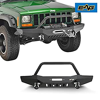 EAG Steel Front Bumper with Winch Plate Fit for 84-01 Cherokee XJ