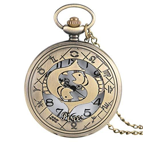 J-Love Bonito Reloj Bolsillo Cuarzo con Esqueleto Bronce, Caja Piscis, los Mejores Regalos para niñas, Estudiantes, Novias, Aniversario, Reloj Masculino y Femenino