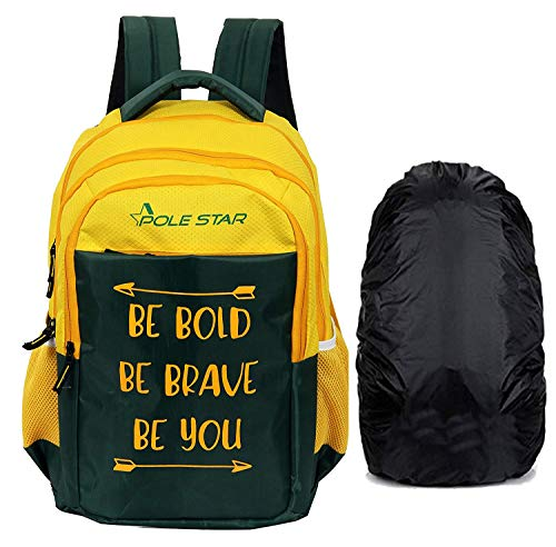 POLESTAR Bold 42 Ltrs Yellow With Rain Cover Casual Backpack School Bagpack