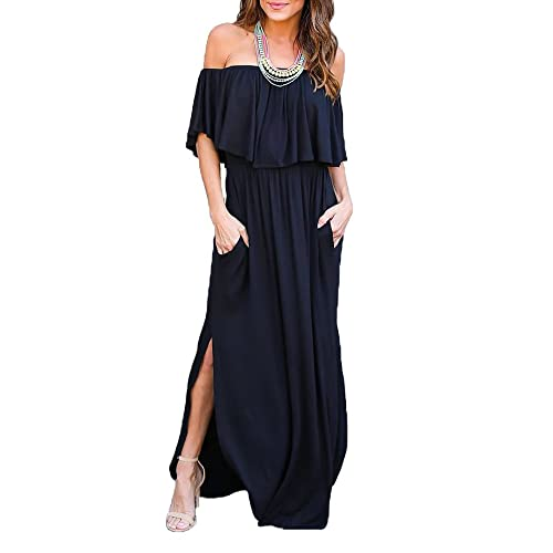 f2351fd383d9 Oyanus Womens Off The Shoulder Ruffles Pockets Dress Side Split Maxi Dresses