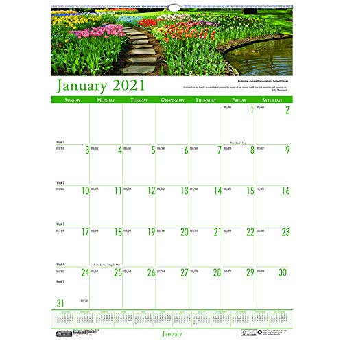 House of Doolittle 2021 Monthly Wall Calendar, Earthscapes Gardens of The World, 12 x 16.5 Inches, January - December (HOD302-21)