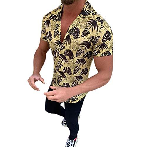 Camisa Lino Hawaiana Hombre Algodón de Lino Impresión de Hawaii Manga Corta Camisas Funky Blusa