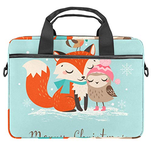 13-14.5 Inch Laptop Sleeve Case Cute Christmas Fox and Owl Protective Cover Bag Portable Computer Notebook Carrying Case Briefcase Message Bag