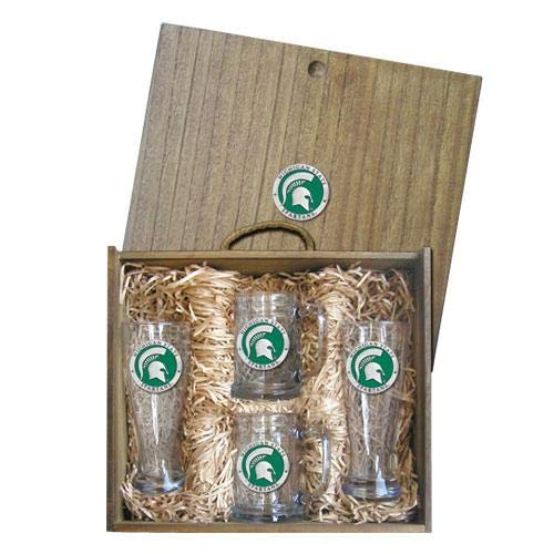 Michigan State University Beer Set Boxed   Set of 4 Glasses with Keepsake Wooden Box   2-20oz Glass Pilsners   2-15oz Steins   Detailed Fine Pewter Medallion