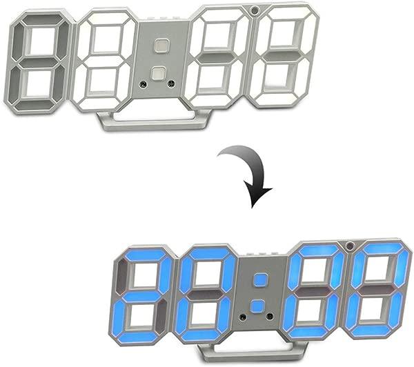 3D Digital Alarm Clock Wall Hang LED Number Clock Light Color Adjustable USB Charge Snooze Clock