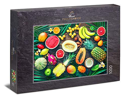 """Ulmer Puzzleschmiede - Puzzle """"Bunte Obst-Kiste"""" - Klassisches 1000 Teile Puzzle zum Thema Essen – Frische exotische Früchte, inszeniert auf dunklem Holz-Hintergrund, als tropisches Puzzle-Erlebnis"""