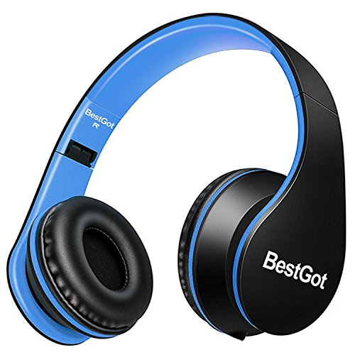 BestGot Kids Headphones for Kids Boys Adult with Microphone in-line Volume Included Cloth Bag Foldable Headset with 3.5mm Plug Removable Cord (Wired Black/Blue)