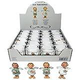 Annastore 24 x Schutzengel in Kleiner Tüte aus Papier - Engel Gastgeschenk Glücksbringer Figur Geschenke für Gäste (Weiß + Türkis)